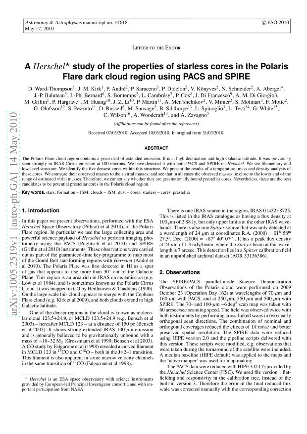 D. Ward-Thompson - A Herschel study of the properties of starless cores in the Polaris Flare dark cloud region using PACS and SPIRE