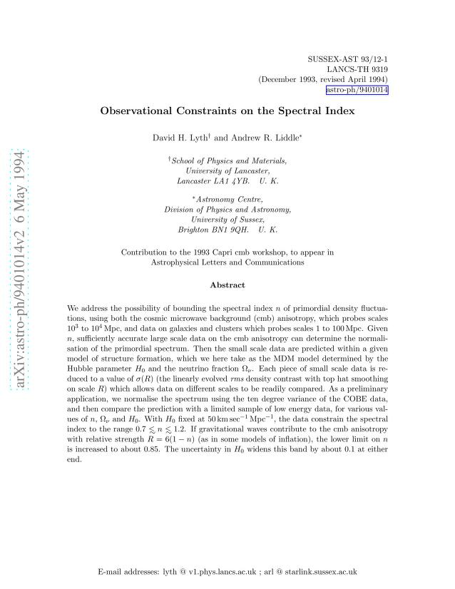 Andrew R Liddle - Observational Constraints on the Spectral Index