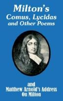 Download Milton's Comus, Lycidas and Other Poems and Matthew Arnold's Address on Milton