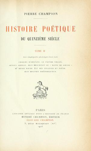 Download Histoire poétique du quinzième siècle …
