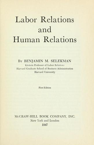 Labor relations and human relations.