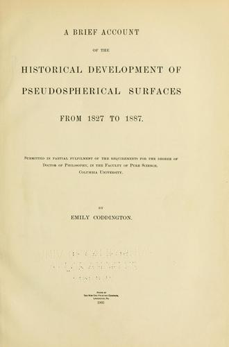 A brief account of the historical development of pseudospherical surfaces from 1827 to 1887.