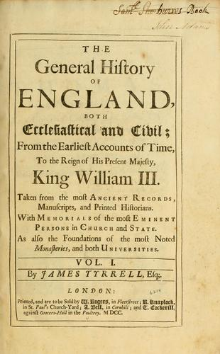 The general history of England, both ecclesiastical and civil