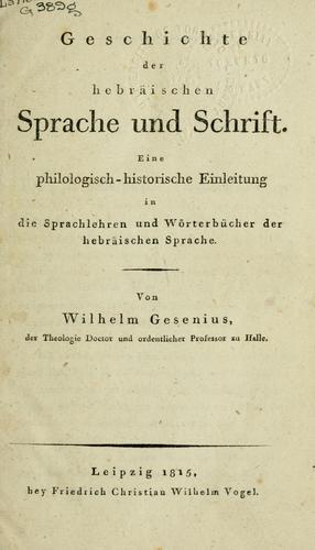 Geschichte der hebräischen Sprache und Schrift.