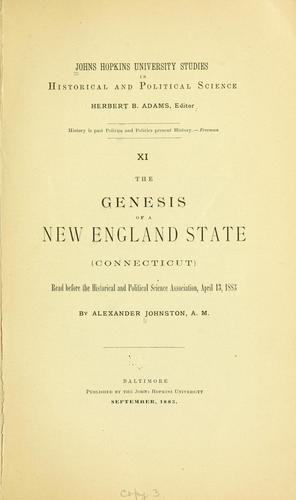 Download The genesis of a New England state (Connecticut).