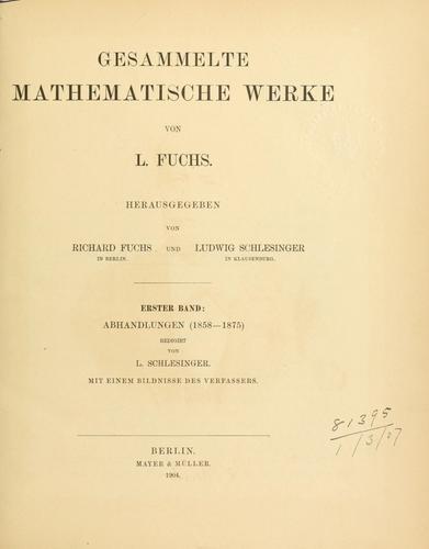 Gesammelte mathematische Werke.