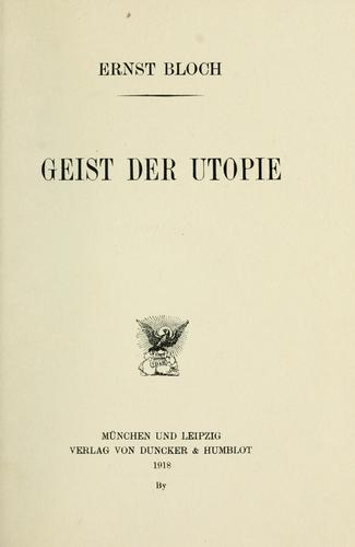 Download Geist der Utopie