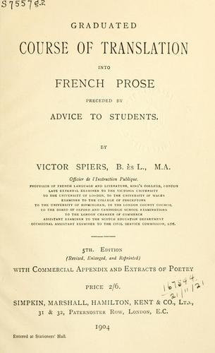 Download Graduated course of translation into French prose