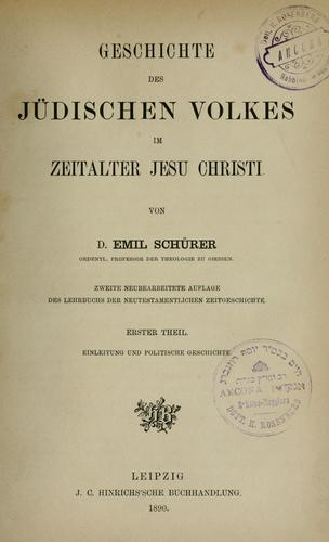 Geschichte des jüdischen Volkes im Zeitalter Jesu Christi.