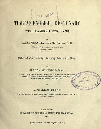 A Tibetan-English dictionary with Sanskrit synonyms