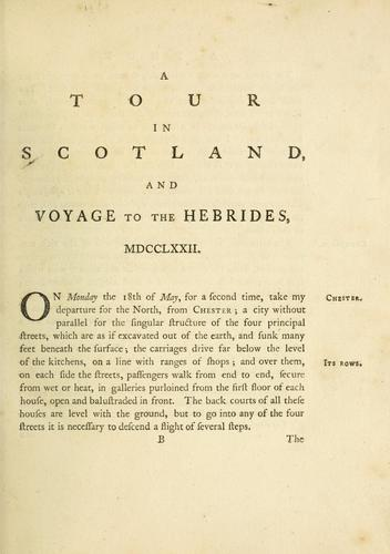 Download A tour in Scotland, and voyage to the Hebrides, 1772.
