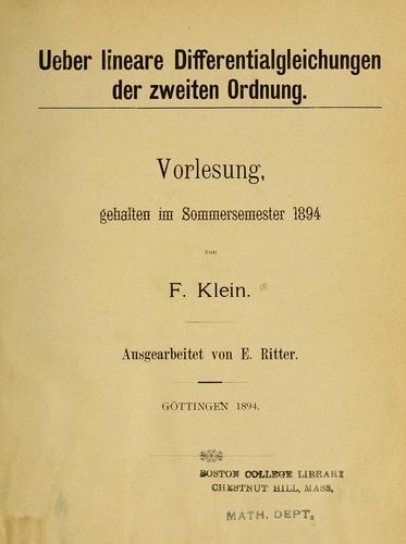 Ueber lineare differentialgleichungen der zweiten ordnung.