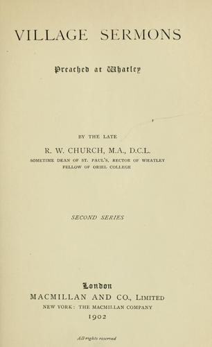 Village sermons preached at Whatley.