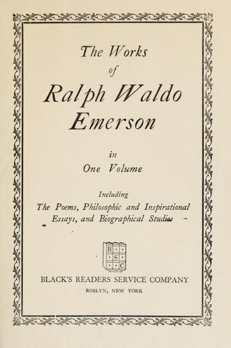 Download The works of Ralph Waldo Emerson