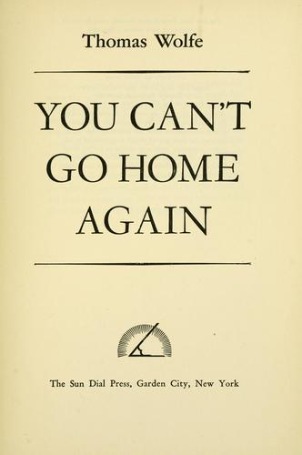 You can't go home again.