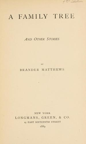 A family tree by Matthews, Brander