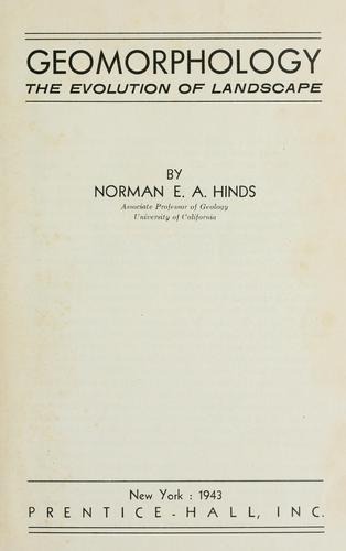Geomorphology by Norman E. A. Hinds