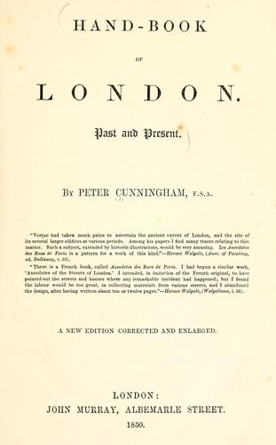 Handbook of London by Cunningham, Peter