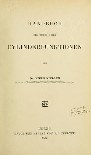 Handbuch der Theorie der Cylinderfunktionen.